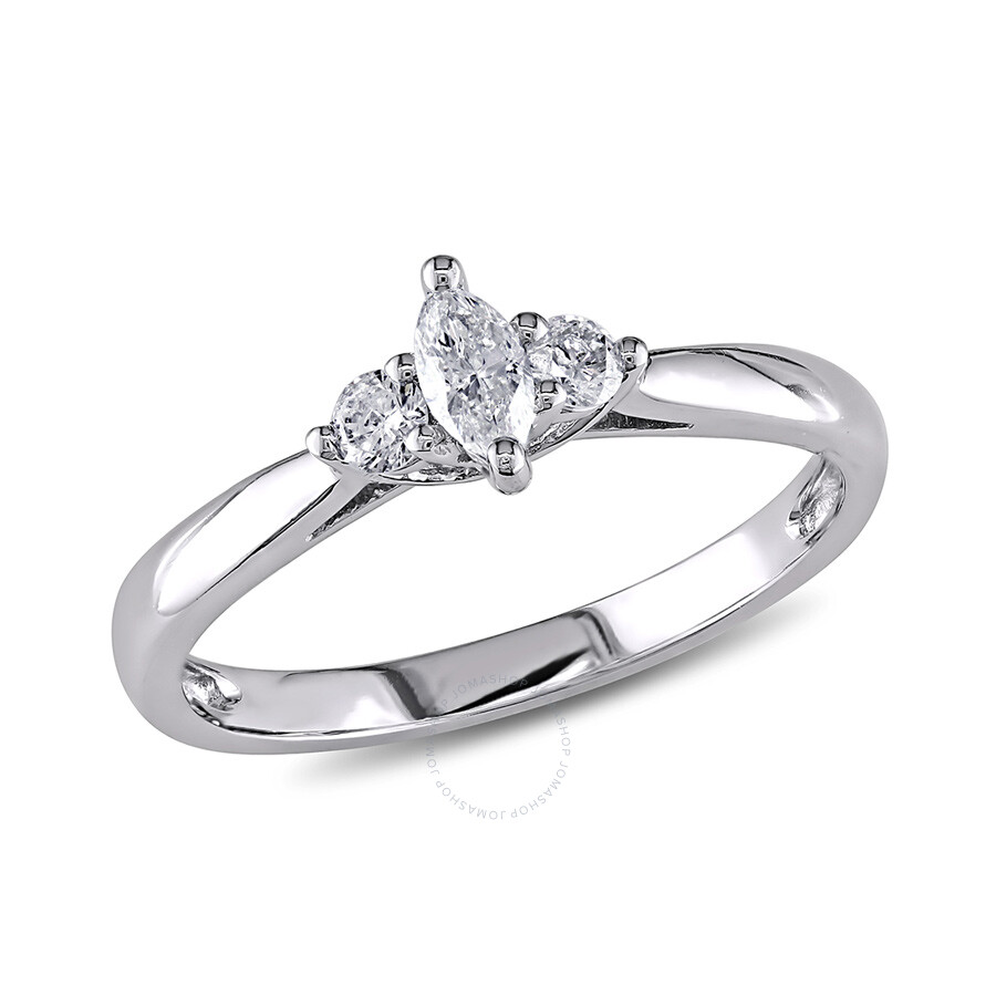 1/4 CT Marquise and Round Diamonds TW Engagement Ring 10k White Gold GH I2;I3 Size 6