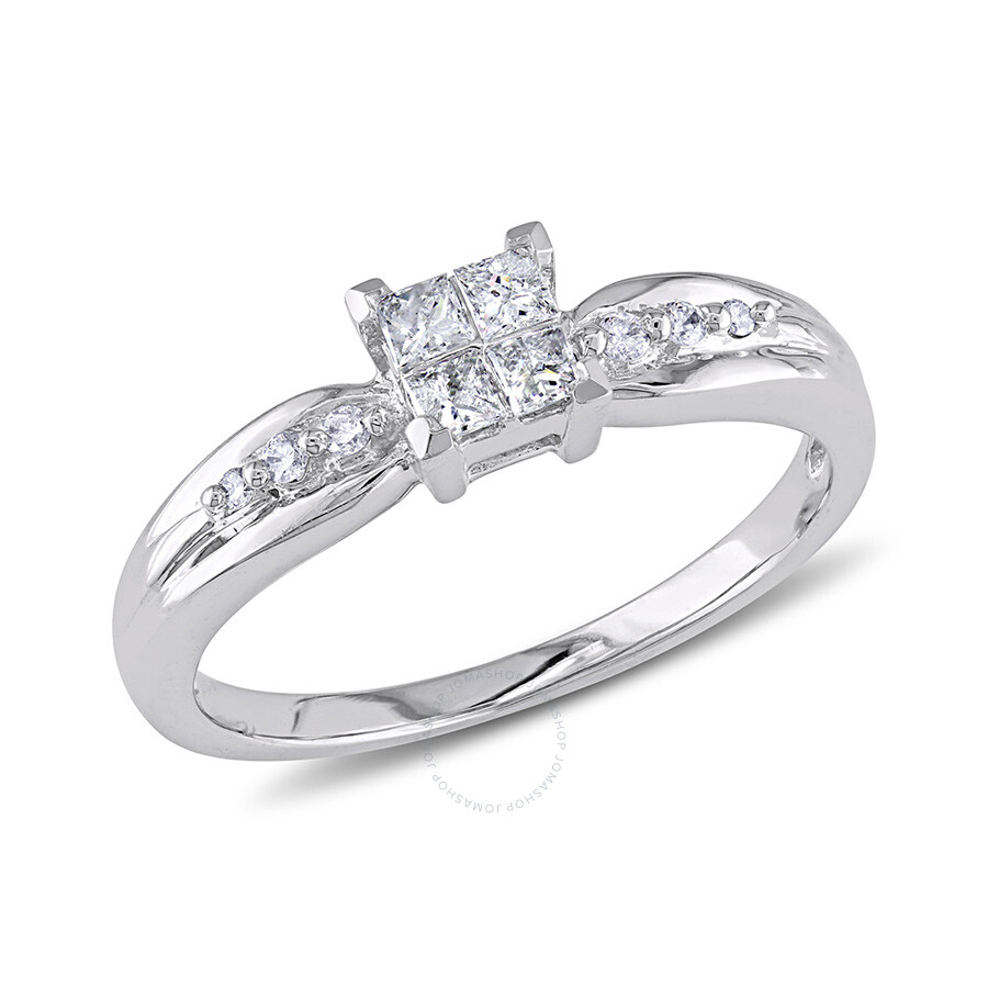 1/4 CT Round and Princess Diamonds TW Engagement Ring  10k White Gold GH I2;I3 Size 10