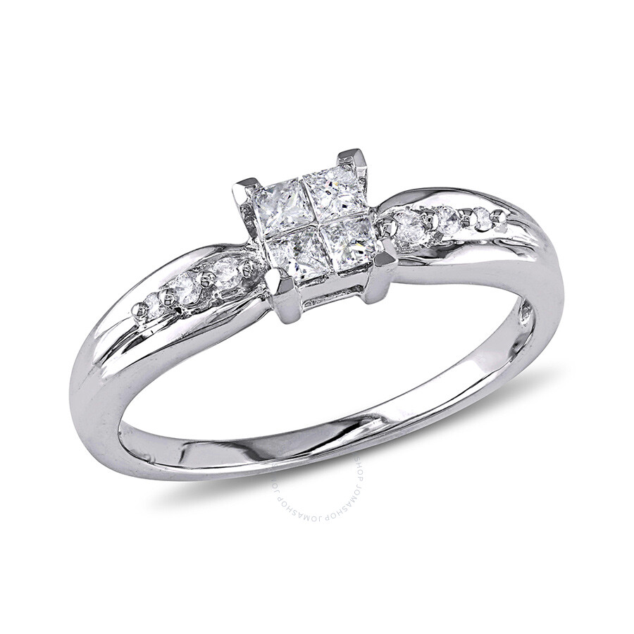 1/4 CT Round and Princess Diamonds TW Engagement Ring  10k White Gold GH I2;I3 Size 7