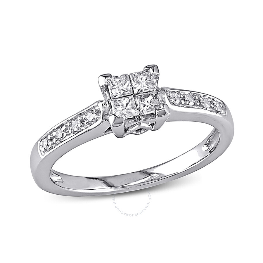 1/4 CT Round and Princess Diamonds TW Engagement Ring 10k White Gold GH I2;I3 Size 8