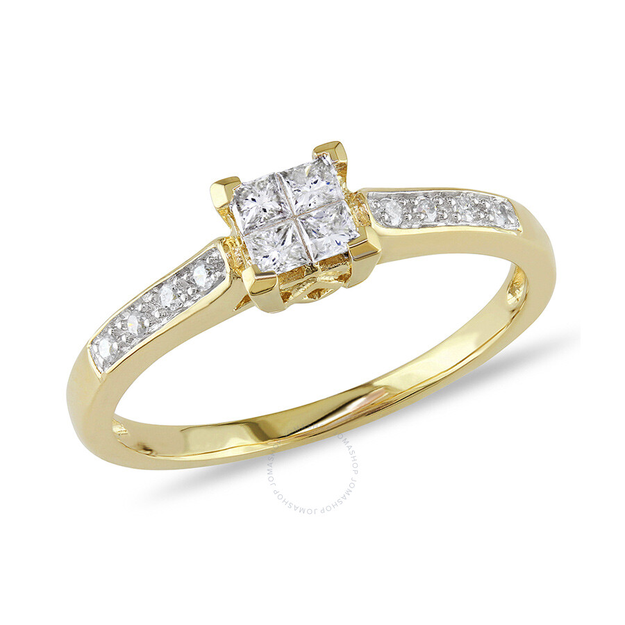1/4 CT Round and Princess Diamonds TW Engagement Ring 10k Yellow Gold GH I2;I3 Size 8
