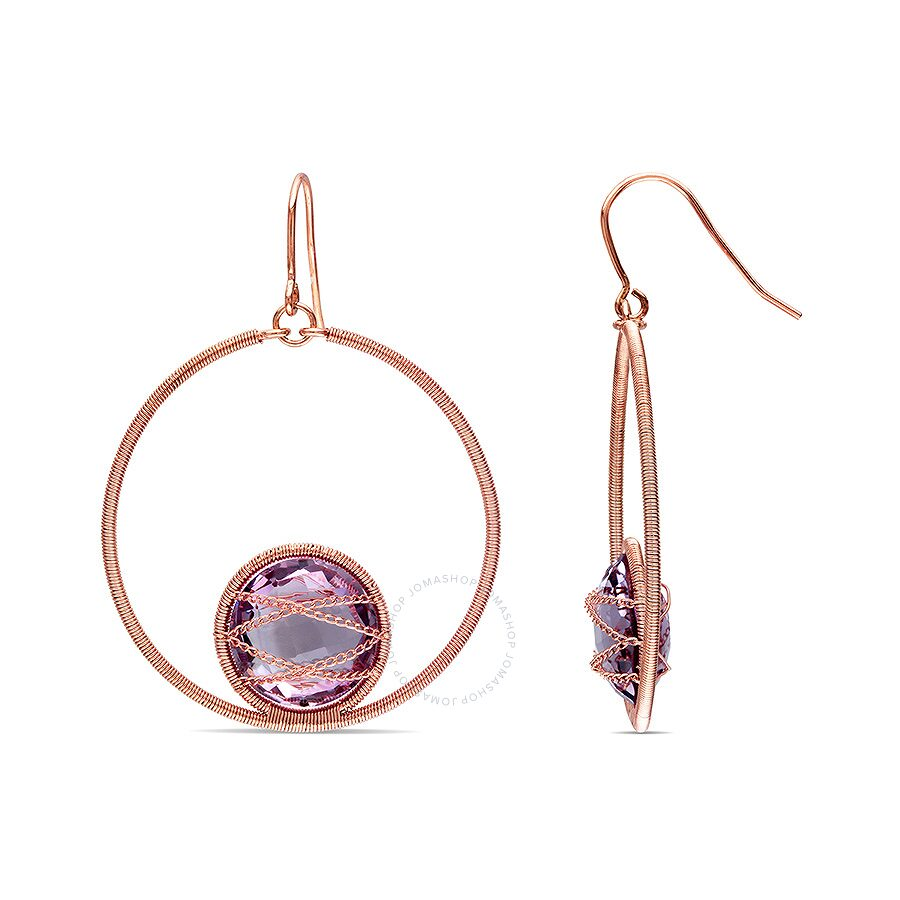 14k Pink Gold Plated Silver 14mm Round Amethyst 15ct TGW Drop Earrings w/Fish Hook Backs