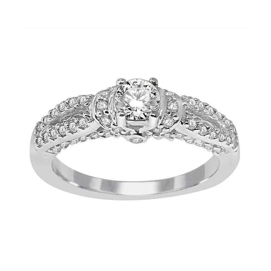 14K White Gold, 1/2 cttw Modern Bridal Ring (H-I, I1-I2) Size 6