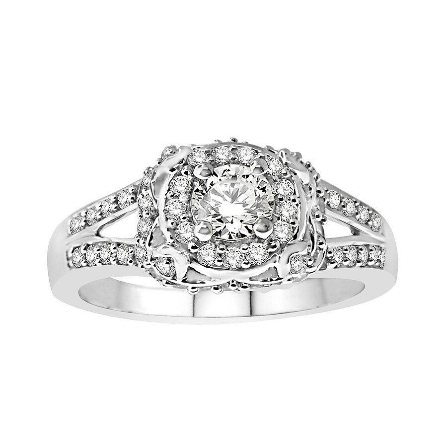 14K White Gold, 1/2 cttw Modern Bridal Ring (H-I, I1-I2) Size 9