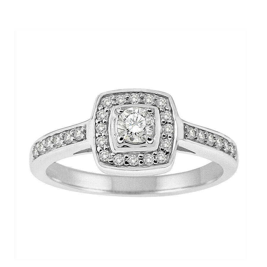 14K White Gold, 1/2cttw Modern Bridal Ring (H-I, I1-I2) Size 6