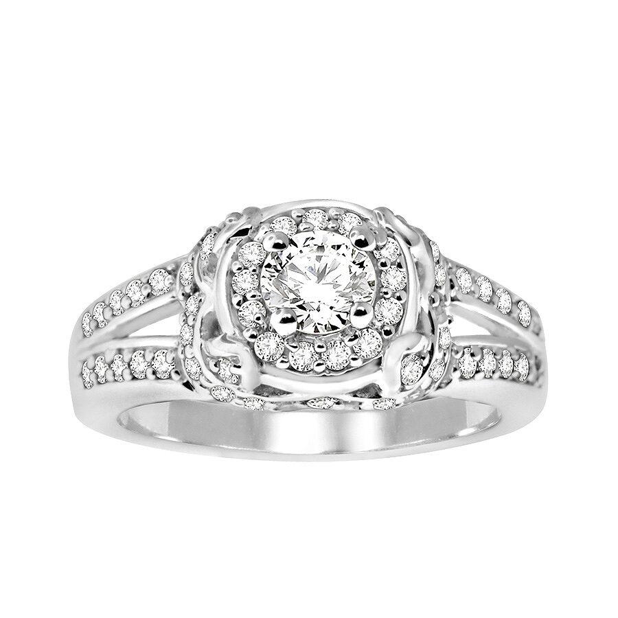 14K White Gold, 1cttw Modern Bridal Ring (H-I, I1-I2) Size 5