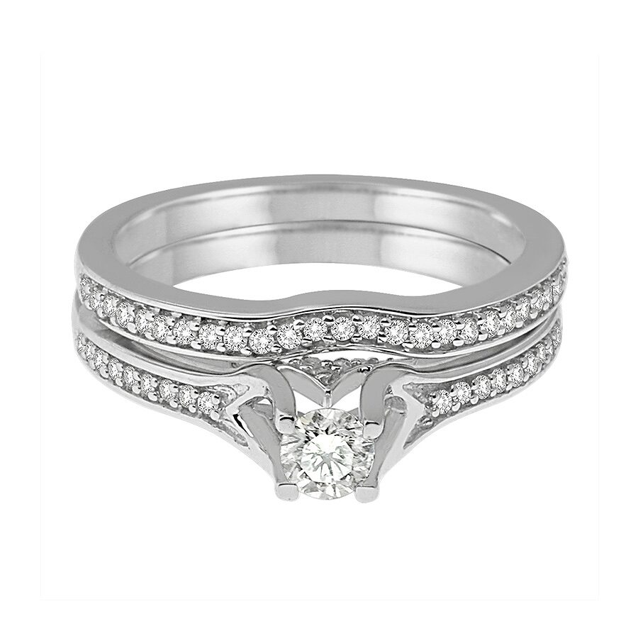 14K White Gold, 1cttw Modern Bridal Ring (H-I, I1-I2) Size 6