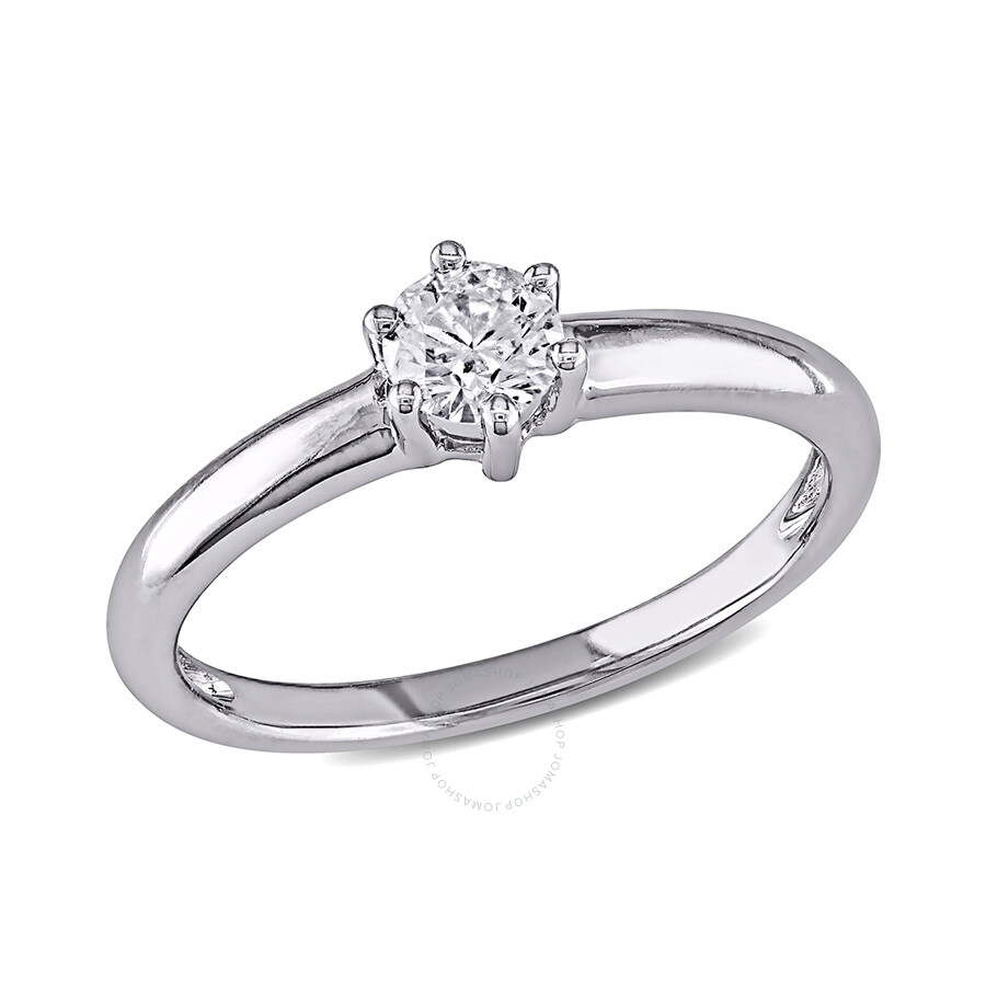 14KW 1/4ct TDW Rd. Classic 6-Claw Solitaire Ring, G-H I1-I2, IGL Certified S..
