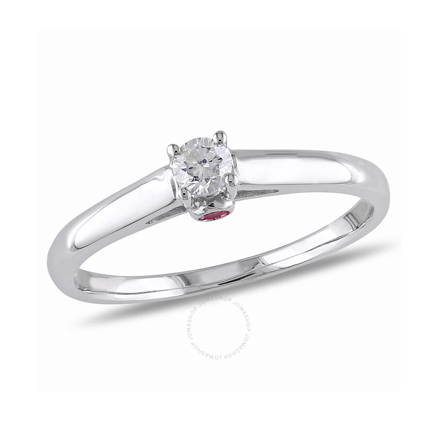 1/6 CT Â Diamond TW And 0.06 CT TGW Pink Sapphire Engagement Ring 10k White Gold GH I2;I3 Size 6