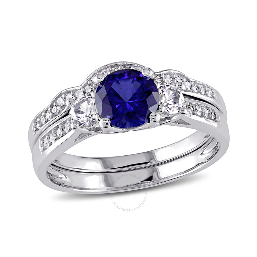1/7 CT  Diamond TW And 1 1/3 CT TGW Created Blue Sapphire Created White Sapphire Bridal Se