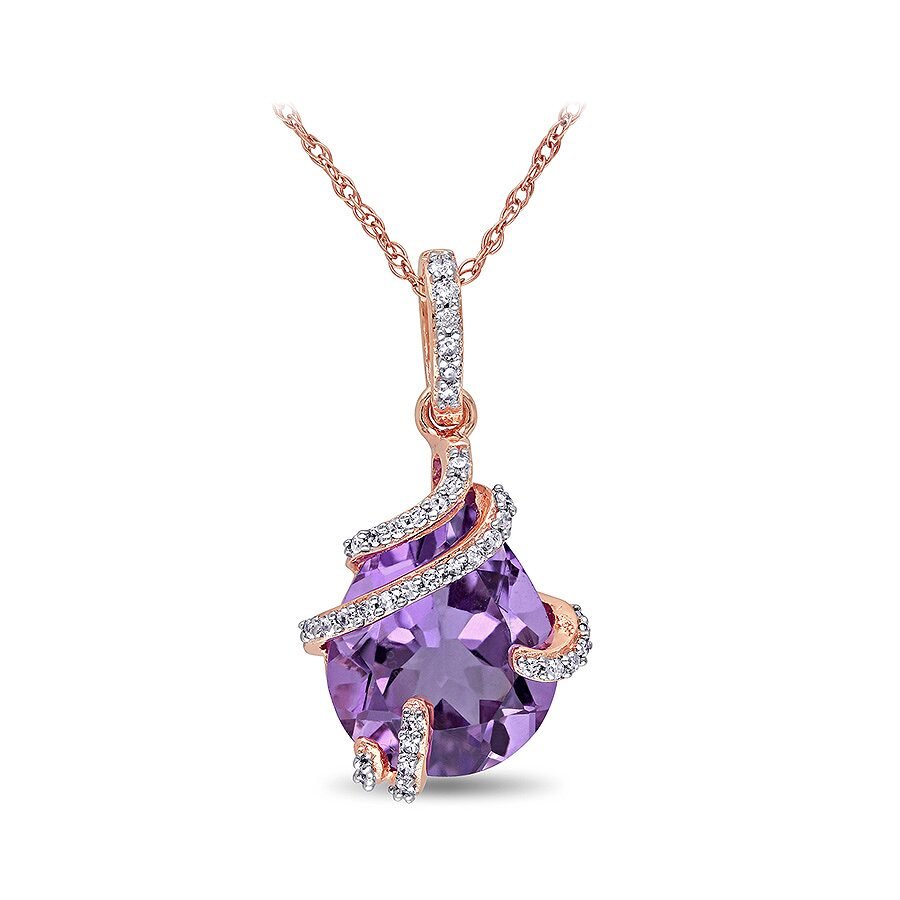1/8 CT  Diamond TW And 4 CT TGW Amethyst Fashion Pendant With Chain