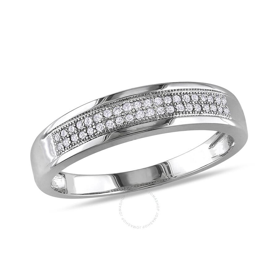 1/8 CT Â Diamond TW Wedding Band Ring 10k White Gold GH I2;I3 Size 5