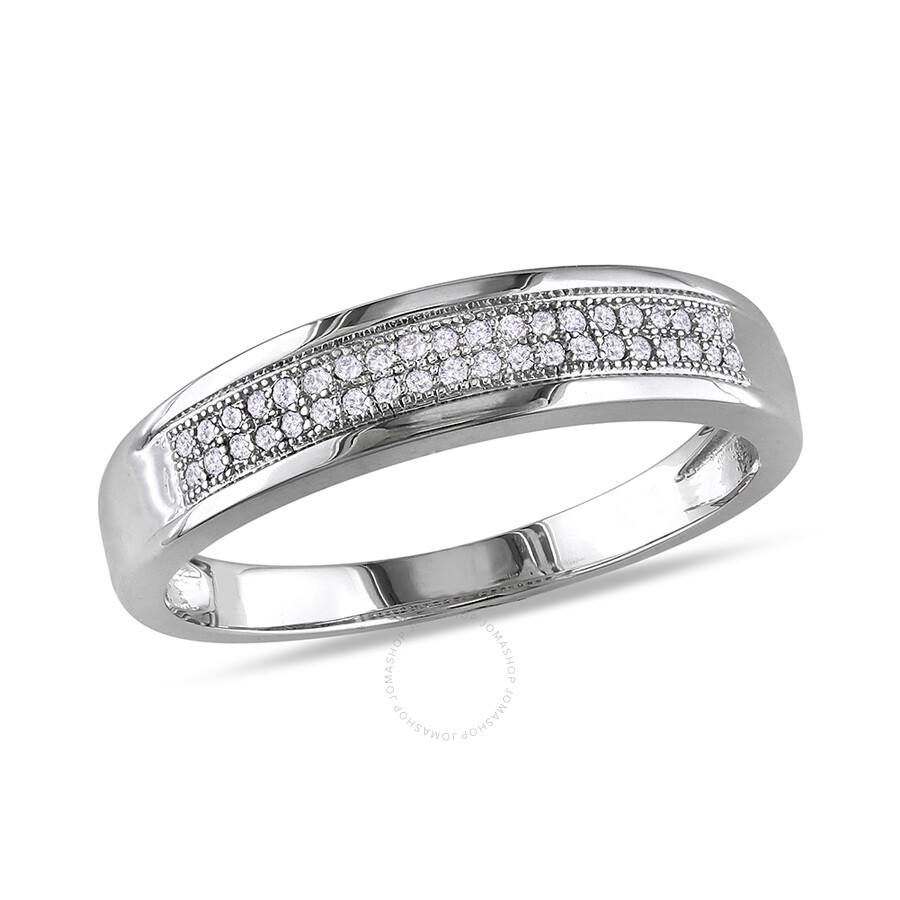 1/8 CT Â Diamond TW Wedding Band Ring 10k White Gold GH I2;I3 Size 6