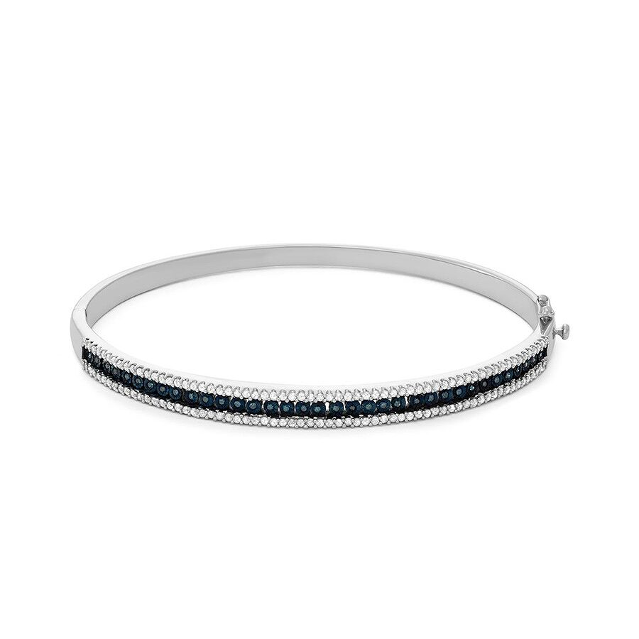 1.00 cttw Sterling Silver Blue And White Diamond With Illusion Plate Bangle