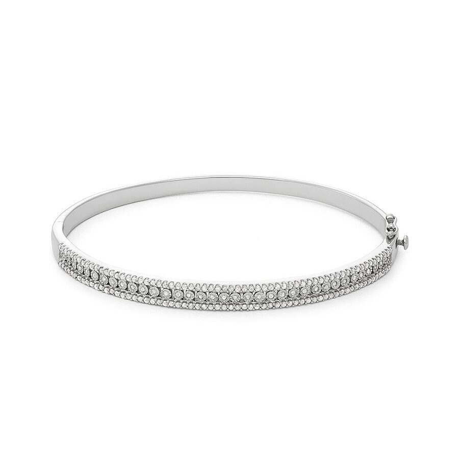1.00 cttw Sterling Silver white diamond with illusion plate bangle