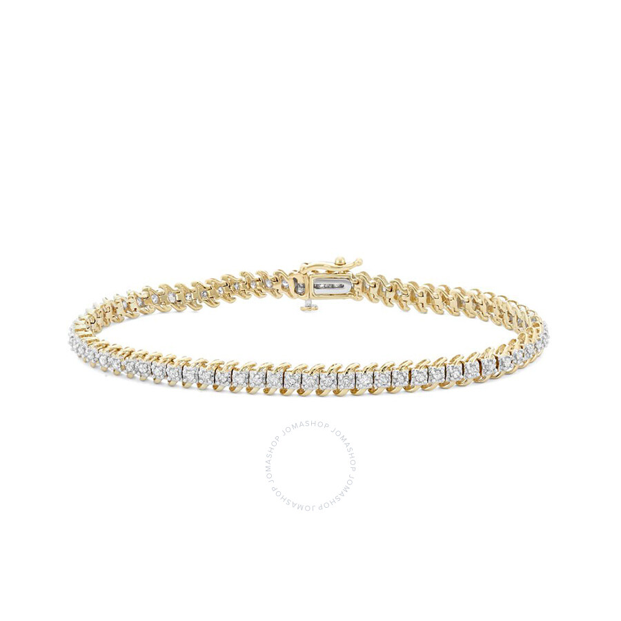 1.00 Cttw White Diamonds Tennis Bracelet in 10K Gold (H-I, I1-I2)