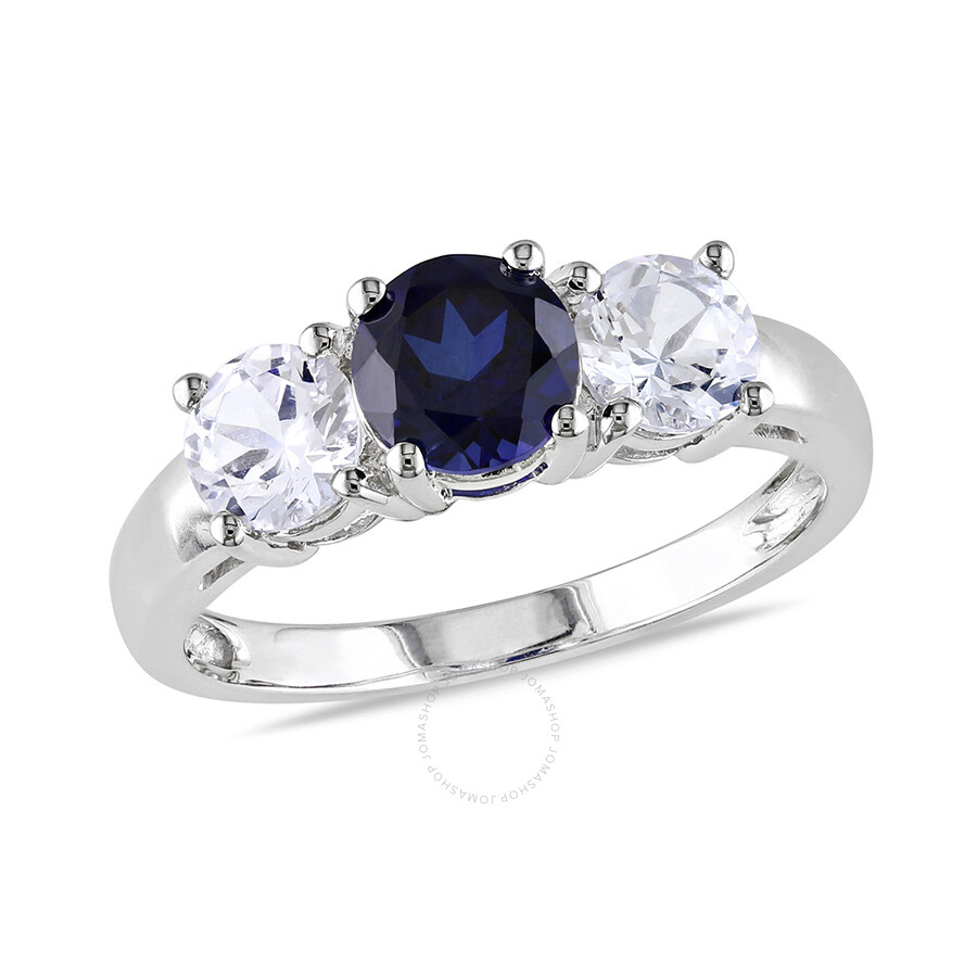 2 1/3 CT TGW Created White Sapphire Created Blue Sapphire 3 Stone Ring  10k White Gold Size 6