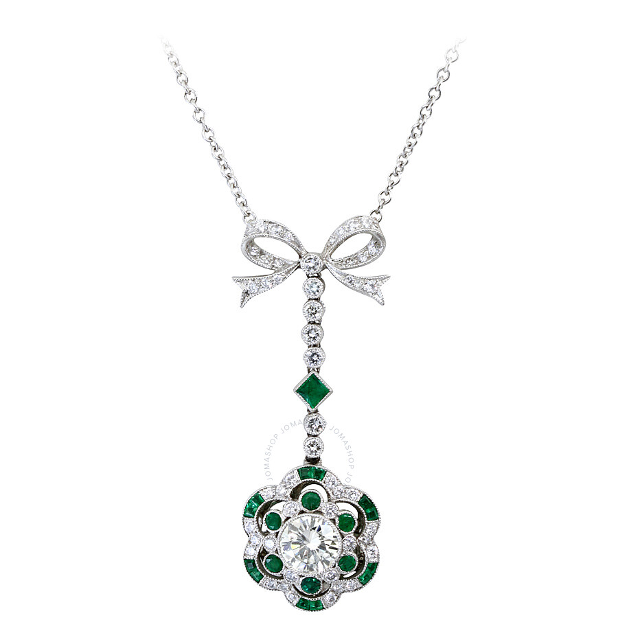 2.22 cts Luxurious Diamond and Emerald Bow Pendant Necklace Mounted in Plati..