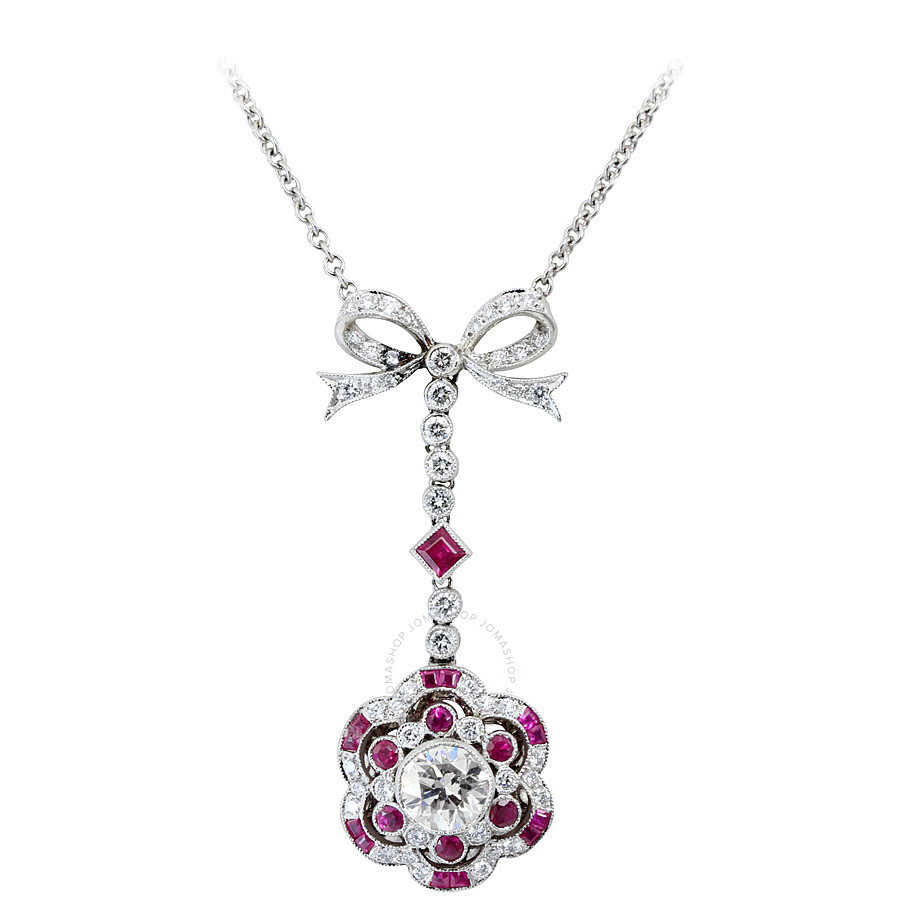 2.54 cts Luxurious Diamond and Ruby Bow Pendant Necklace Mounted in Platinum