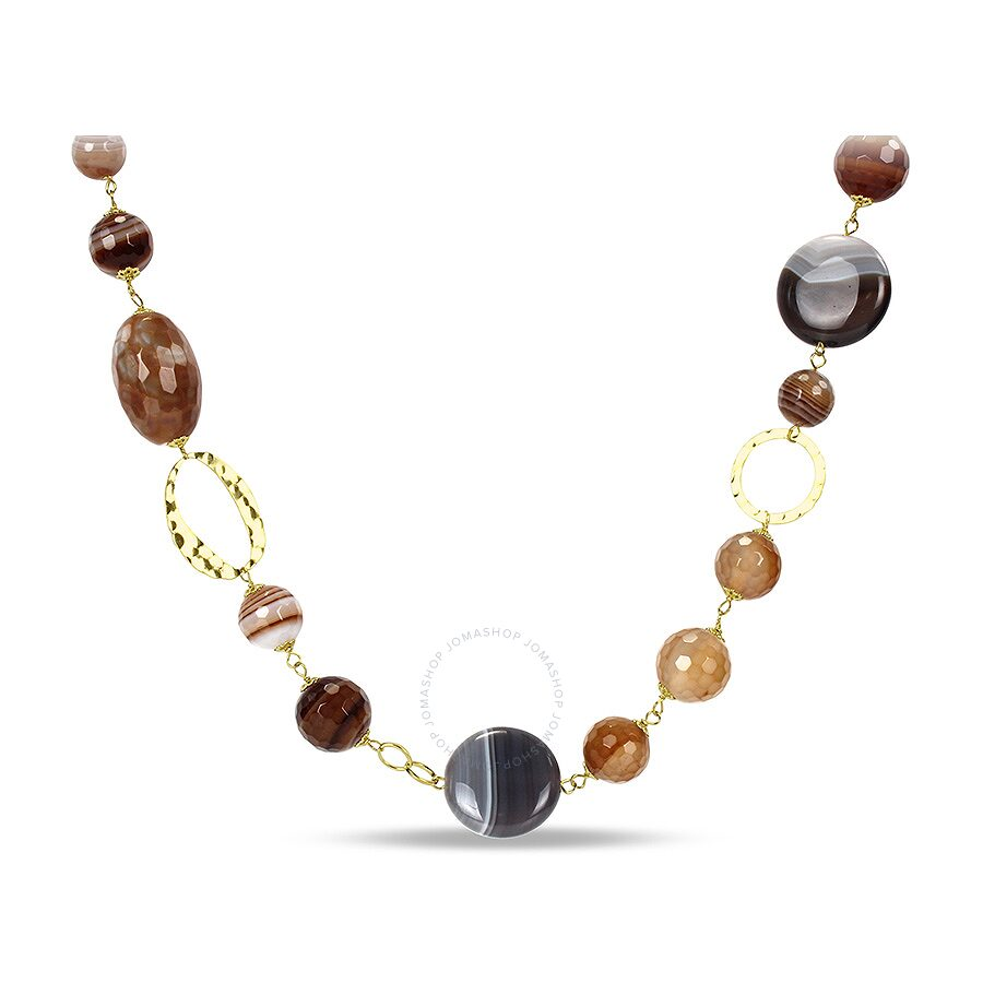 "26"" Silver Yellow Plated 585ct TGW Botswana Grey Agate & Stripped Coffee Agate Gemstone Necklace w/"