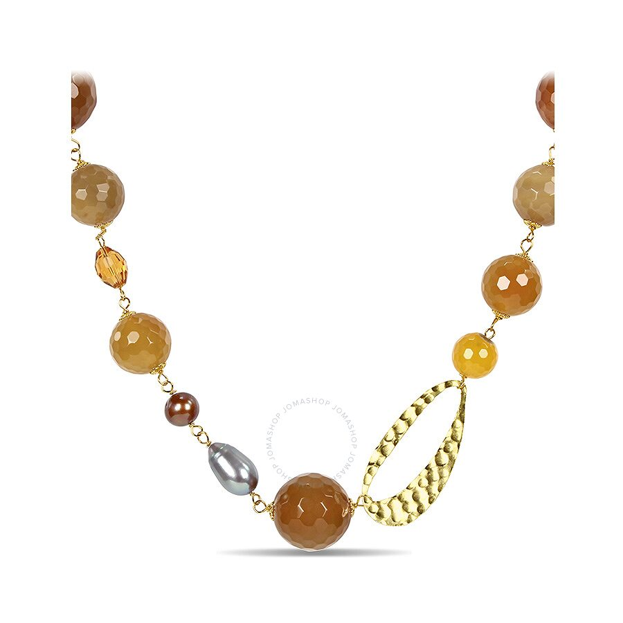 28 Silver Yellow Plated 650ct TGW 9-11mm Grey & Brown FW Pearls, Mixed Yello..