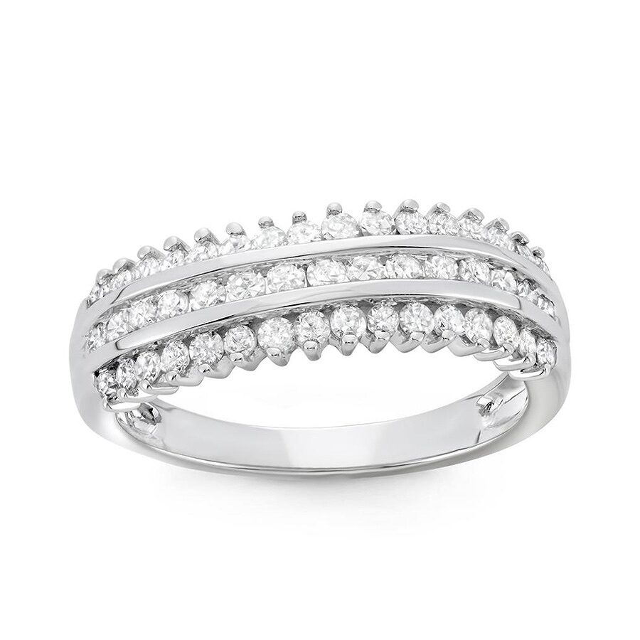 3/4 cttw 10k White Gold Diamond Ring (H-I, I1-I2) Size 6