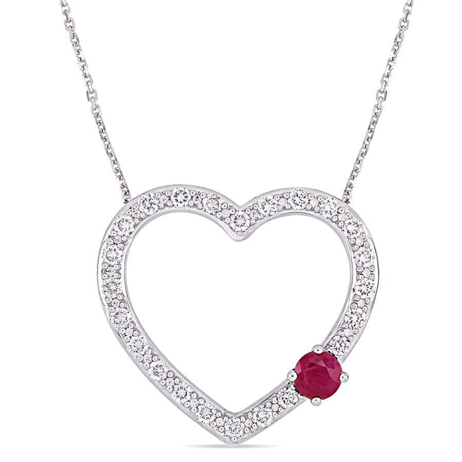 3/8 CT TGW Ruby and 3/4 CT TW Diamond Necklace in 14k White Gold JMS004863