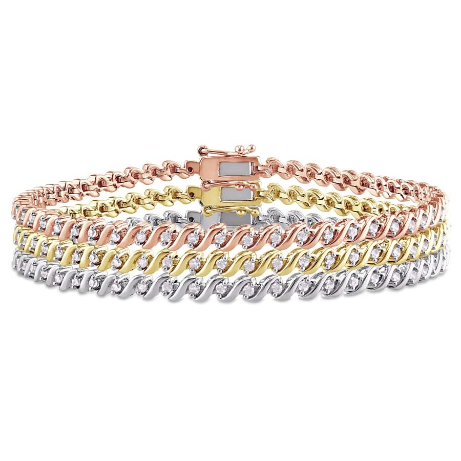 3-Piece Set of 1.5 CT TW Diamond Bracelets in White, Pink, and Yellow Plated..
