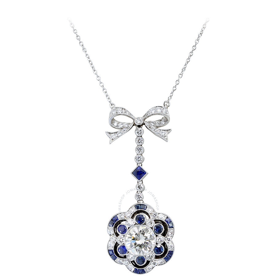 3.35 cts Luxurious Diamond and Sapphire Bow Pendant Necklace Mounted in Plat..