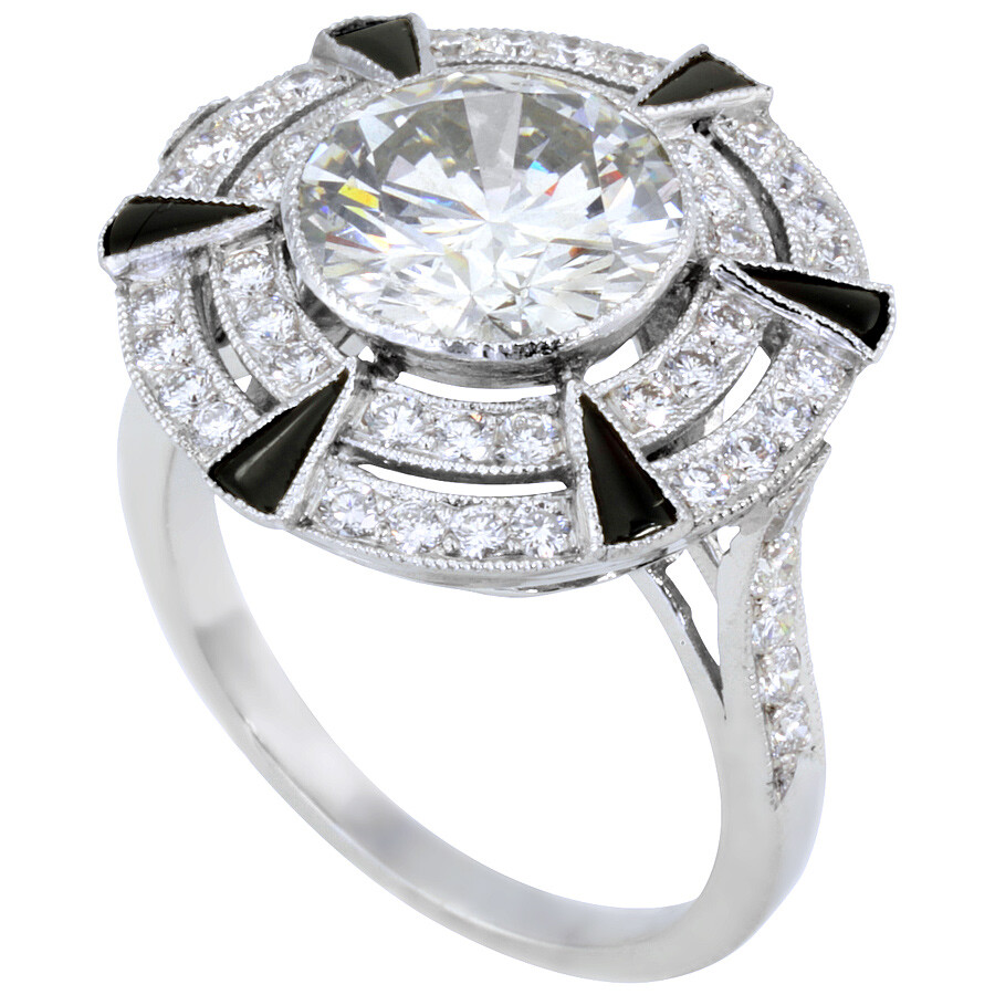 3.00 cts Extraordinary Diamond and Onyx Ring Mounted in Platinum