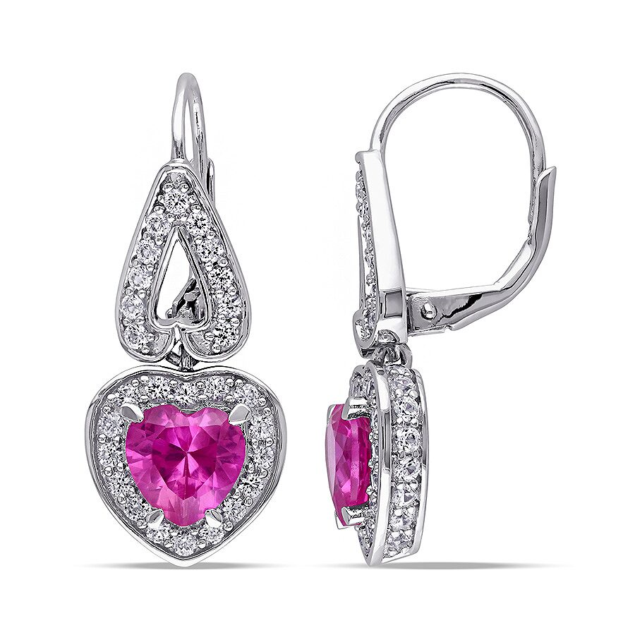 4 3/4 CT TGW Created Pink Sapphire Created Sapphire LeverBack Earrings Silver