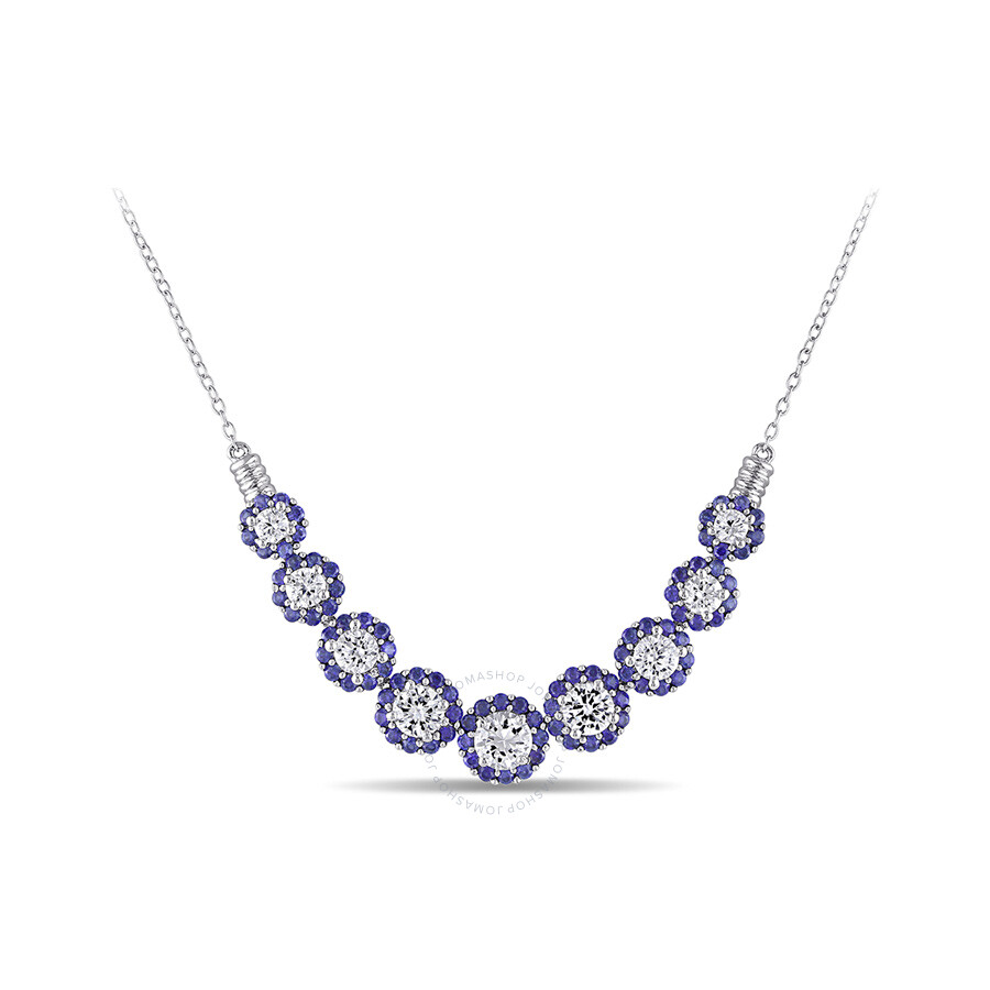 4 3/4 CT TGW Created White Sapphire Created Shappire Necklace With Chain Silver Length (inches): 17