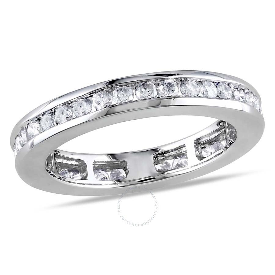 4/5 CT TW Channel Set Diamond Eternity Ring in 14k White Gold ...