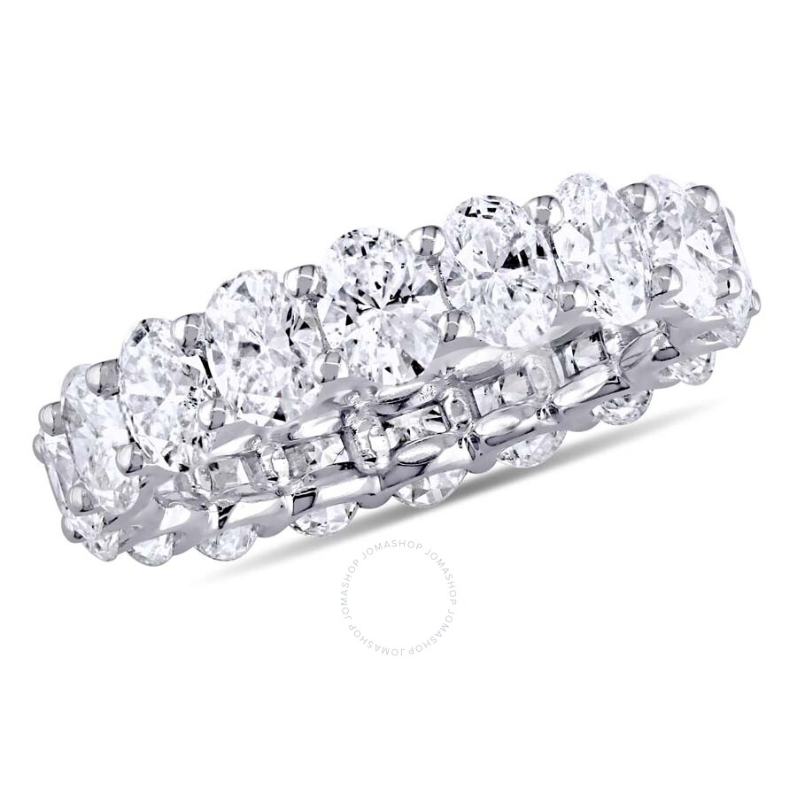 5 1/2 CT Oval Diamond TW Eternity Ring 18k White Gold F-G SI1-SI2 Size: 7.5 ..
