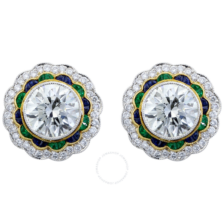 5.17 cts Luxurious Diamond Emerald Sapphire Round Pave Stud Earrings Mounted..