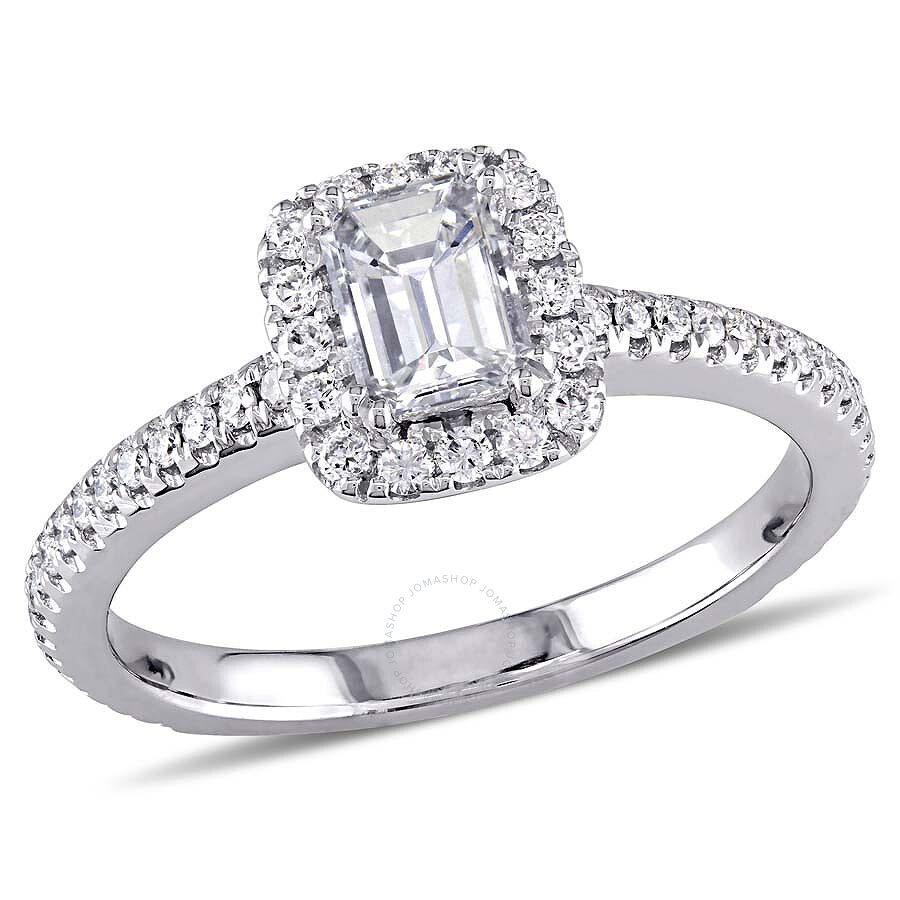 Diamond Wedding Band 3 8 Ct Tw Round Cut 14k White Gold: 7/8 CT TW Emerald Cut And Round Diamond Engagement Ring In