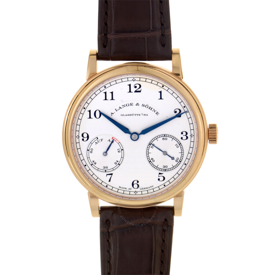 a lange sohne male a lange and sohne 1850 up down silver dial brown leather mens watch 234032