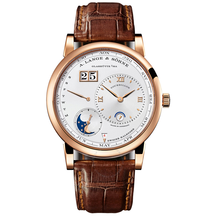 A. Lange and Sohne Lange 1 Tourbillon Silver Dial 18K Rose Gold Automatic Mens Watch 720.032