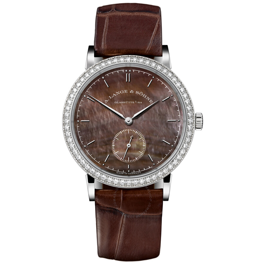 A. Lange and Sohne Saxonia Mother of Pearl Dial 18K White Gold Diamond Ladies Watch 878.038