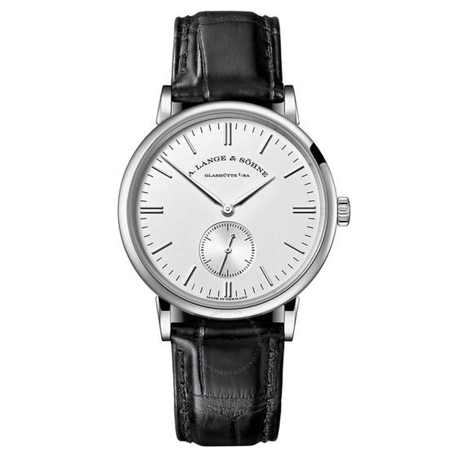 A. Lange and Sohne Saxonia Silver Dial 18K White Gold Mens Watch 219.026