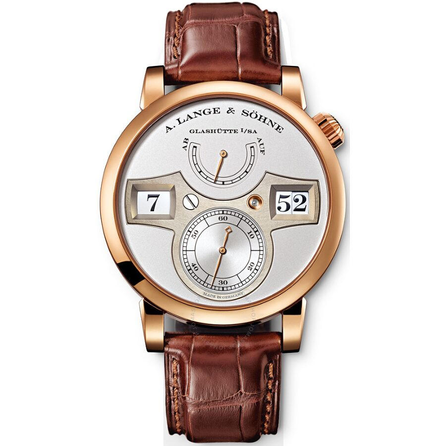 A. Lange and Sohne Zeitwerk Silver Dial 18K Rose Gold Mens Watch 140.032