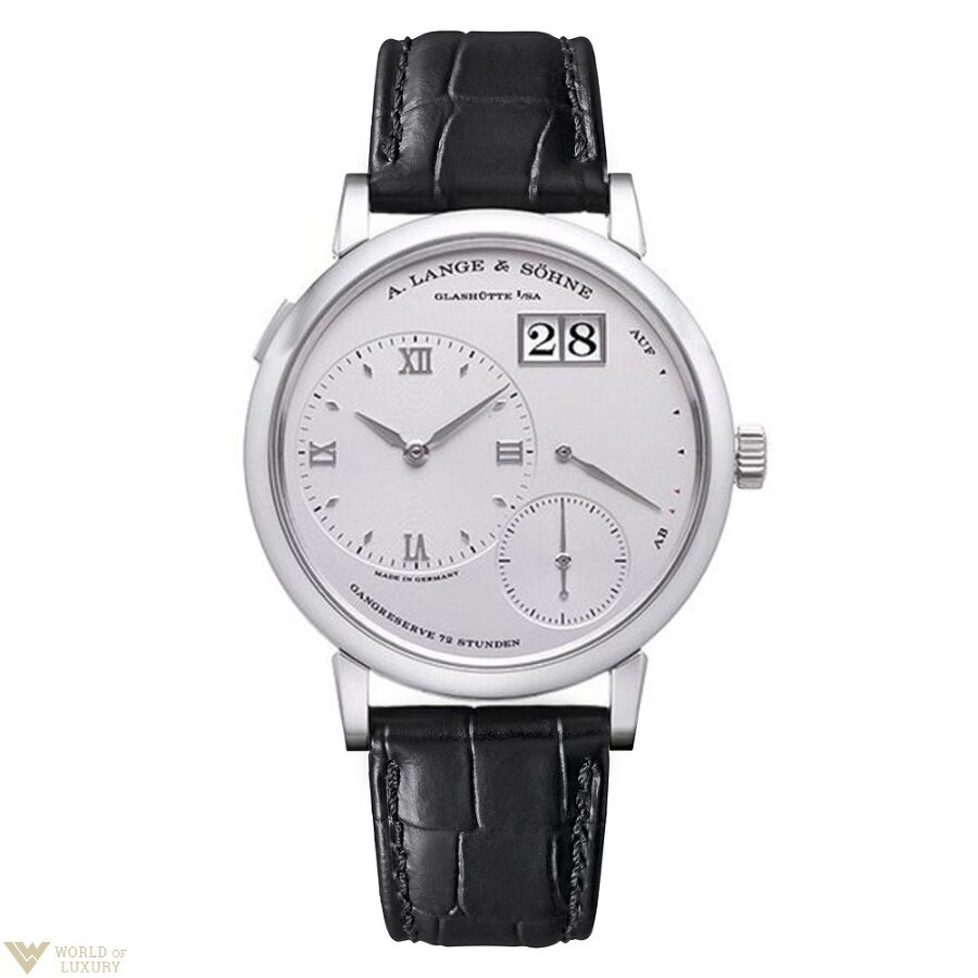 A. Lange and Sohne Grand Lange 1 Silver Dial Platinum Mens Watch 117.025