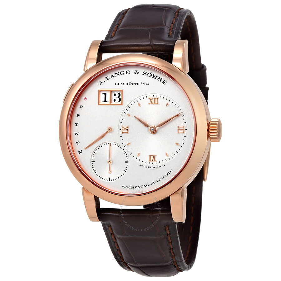 a lange sohne male a lange and sohne lange 1 daymatic silver dial 18kt rose gold mens watch 320032