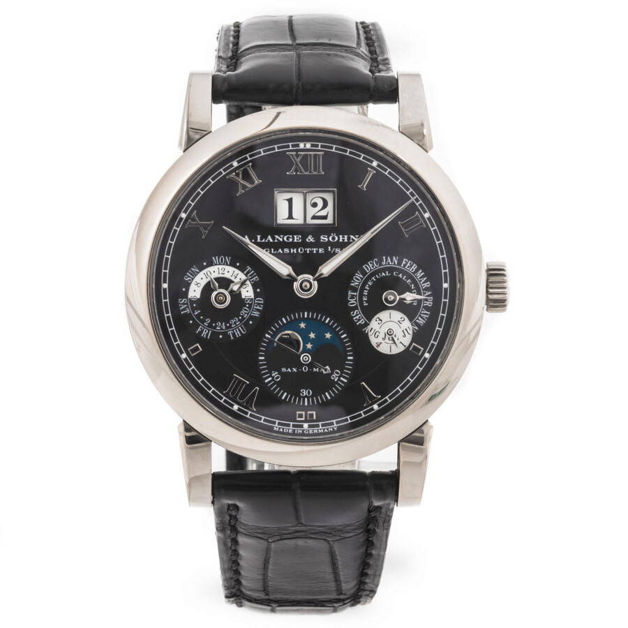 a lange sohne male a lange and sohne langmatik perpetual black dial 18k white gold mens watch 310026