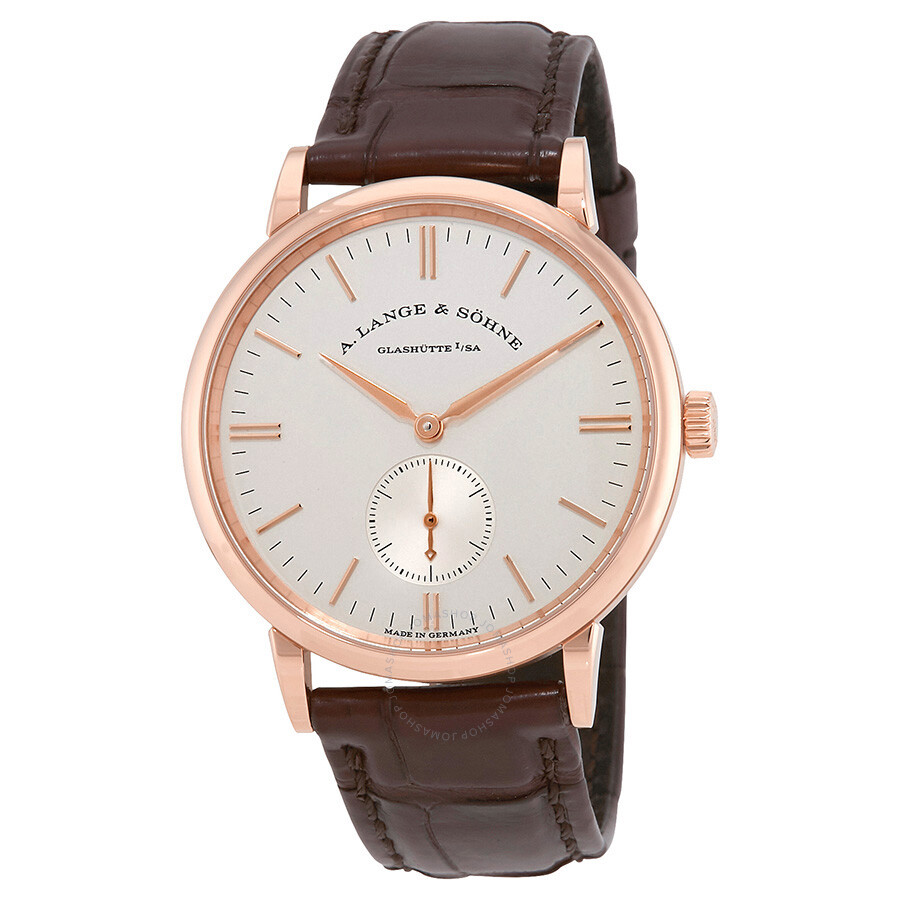 a lange sohne male a lange and sonhne saxonia silver dial 18k rose gold mens watch 219032