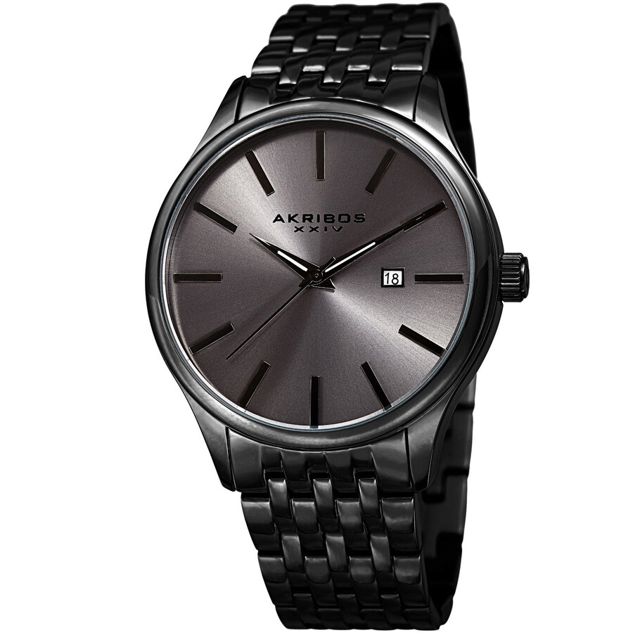 akribos xxiv male akribos dark grey sunburst dial mens watch ak941gn