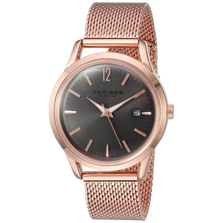 akribos xxiv female akribos xxiv ador grey dial ladies rose gold mesh watch ak930gy