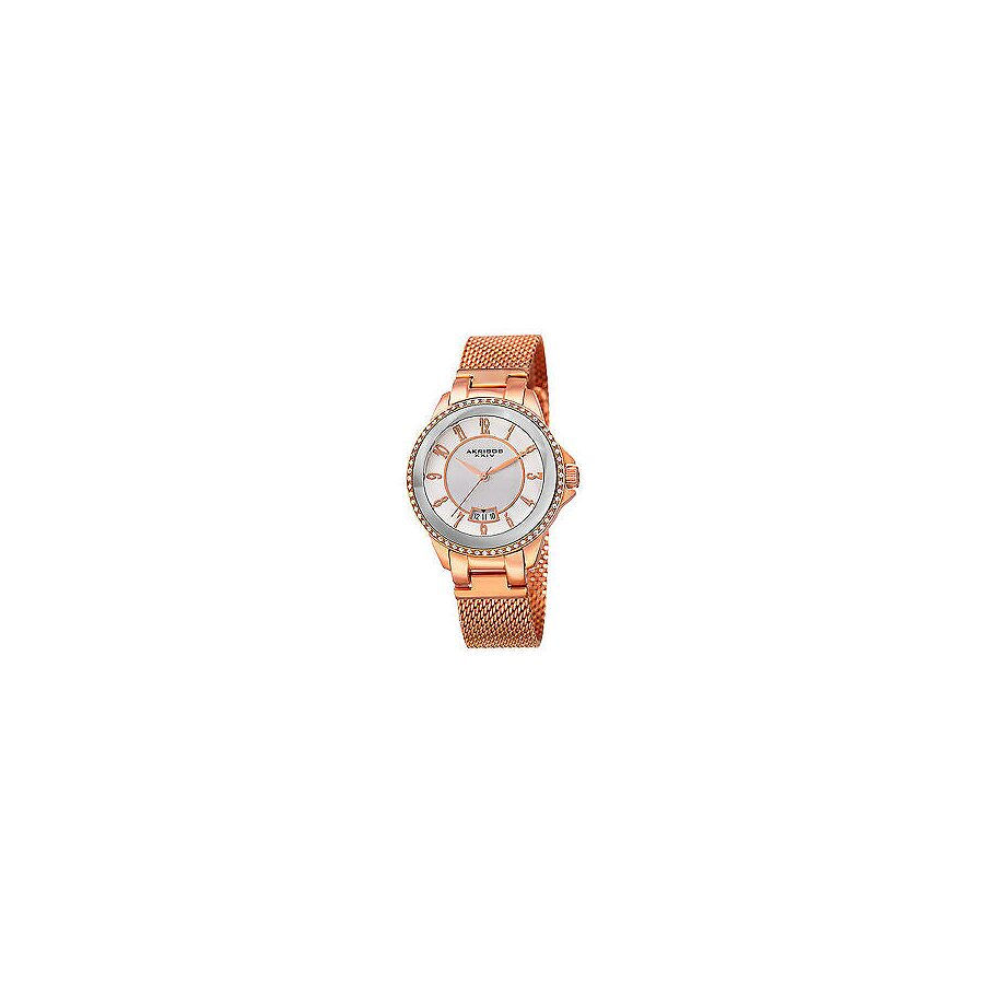 akribos xxiv female akribos xxiv ador silver dial ladies rose gold watch ak840rg