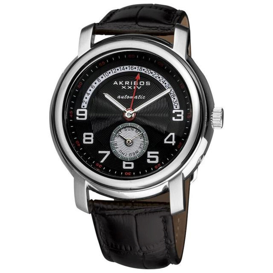 akribos xxiv male akribos xxiv black dial automatic mens leather watch ak547bk