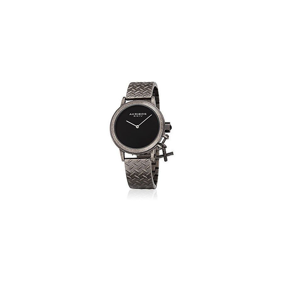 Akribos XXIV Black Dial Ladies Gunmetal Watch AK966SSB